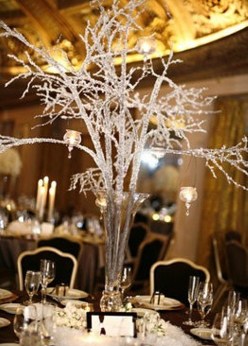 frozen tree winter wedding centerpieces