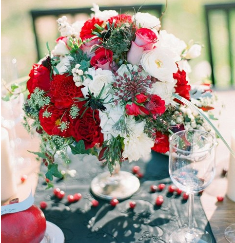 red and white winter wedding centerpieces