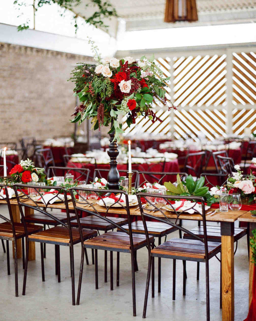 green and red winter wedding centerpieces