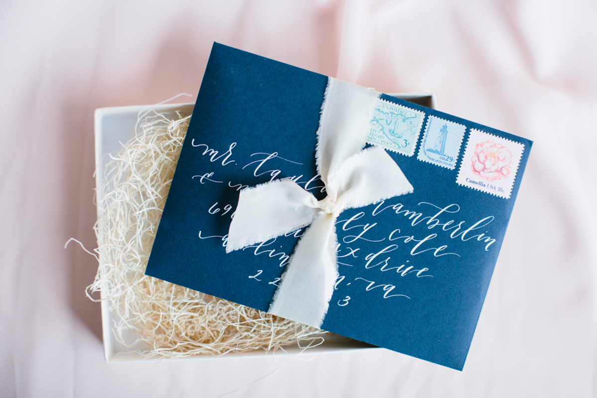Blue Envelope For Wedding Invitation