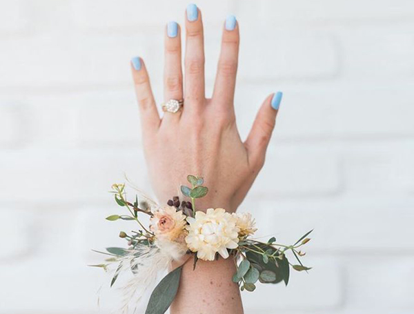 Honorary Bridesmaid - Blue Fingernails with Wrist Corsage