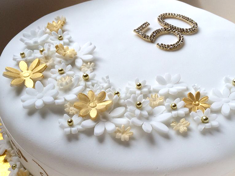 Golden Anniversary - 50th Wedding Cake With Gold Flowers