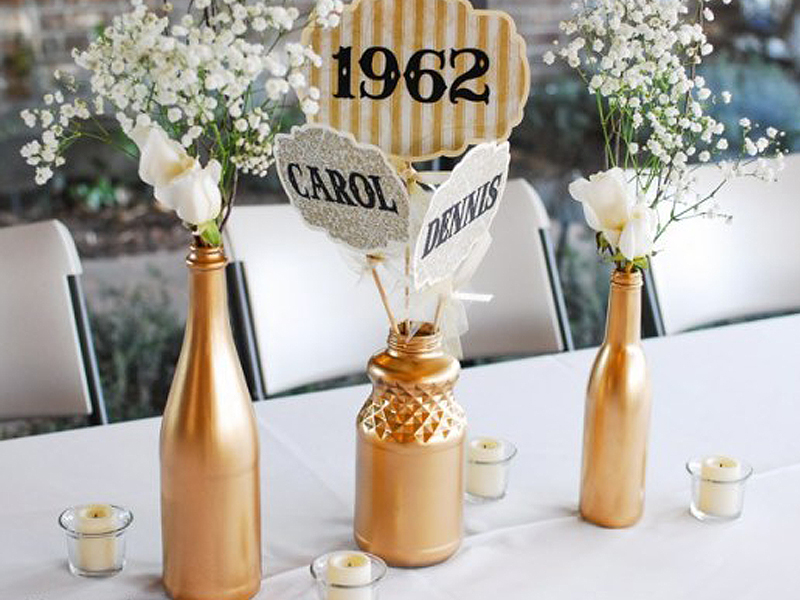 Golden Anniversary Table Decorations